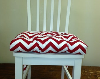 Set of 2, 4, 6, 8 tufted chair pads, seat cushions, bar stool cushions, red on white chevron zig zag