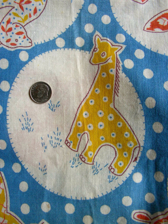 Vintage novelty feedsack fabric juvenile nursery animals on for Retro nursery fabric