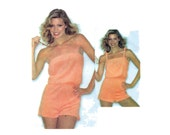 1970s Easy Playsuit Pattern Strapless or Tie Straps Elastic Waist 90 Minute Romper McCalls 6597 Size Small Vintage Sewing Pattern