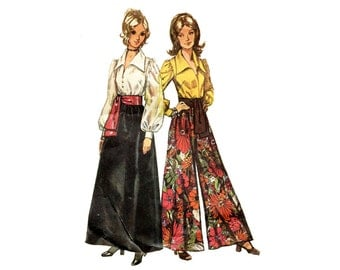 1970s Palazzo Pants, Skirt and Blouse Pattern Italian Collar Full Sleeve Blouse Maxi Skirt Simplicity 5235 Bust 34 Vintage Sewing Pattern