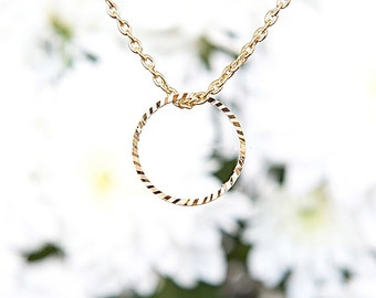 Gold Circular necklace, ring pendant, Gold chained necklace, Glitter necklace, Under 25 jewelry, Gold Ring jewelry, Modern jewelry