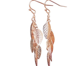Rose Gold leaf Earrings, Rose Gold earrings, leaves earring, leaf jewelry, Modern jewelry, vine earrings, dangle earring, long earrings