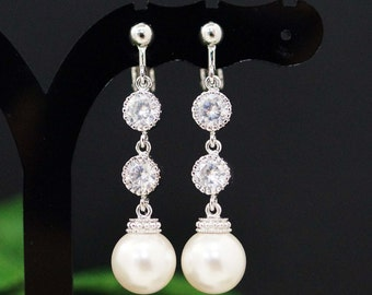 Weddings Bridesmaid Gift Bridal Jewelry Bridal Earrings Bridesmaid Earrings Swarovski Pearls and CZ connectors drop dangle Clip On earrings
