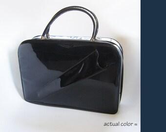 Vintage Mod Navy Blue Zippered Frame Handbag