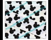 New 3 Yards 7/8 Black MOUSE HEADS on WHITE Grosgrain Ribbon sewing clips hairbows sewing crafts magical Hair bows