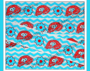 New 3 Yards 7/8 Glittered Red Sea CRABS flowers  WAVS on White Grosgrain Ribbon Turquoise red cat hat thing sewing hair bows clam mermaid