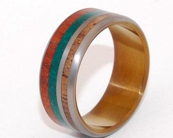 titanium wedding ring, men's ring, women's ring, commitment ring, engagement ring, jade wedding ring, commitment ring - STRAWBERRY FIELDS