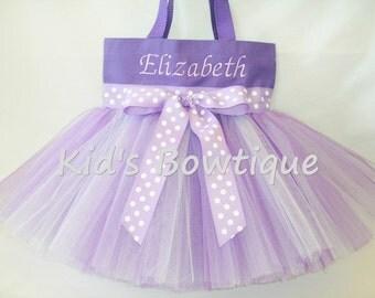 Purple Lavender Polka Dots Ribbon Monogrammed Tutu Tote Bag