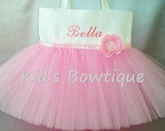 Pink Sequins Flower Tutu Tote Bag- Personalized Pink Tutu Dance Bag