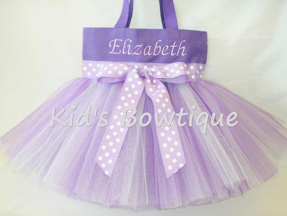 Purple Lavender Polka Dots Ribbon Monogrammed Tutu Tote Bag