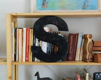 Vintage Plastic Black Letter S, Industrial Alphabet Letter S
