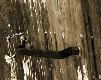 Old barn door handle, home wall decor