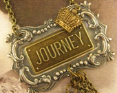 "Handmade Vintage Inspired Assemblage Necklace & Earrings ""Dream Journey"", Junk Gypsy, Vintage, Altered, Inspirational Jewelry"