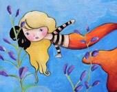 Caroline Mermaid Girl Art Print
