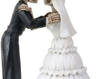 We Do- Love Never Dies Bride and Groom Day of the Dead Gothic Halloween Wedding Cake Toppers - Painted Resin Romantic Skeleton Figurines-R3A