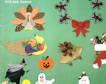 Holiday Decorating with Magnetic Sheeting Learn How to Paint or Adhere Fabric to Magnet Sheets Holiday Designs Craft Pattern Leaflet 12371