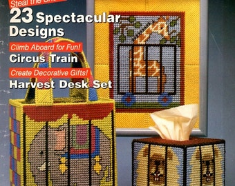 Plastic Canvas Magazine Circus Train Birthday Cake Gift Box Desk Set Coasters Cityscape Night Scene Craft Pattern No. 10 Sept/Oct 1990