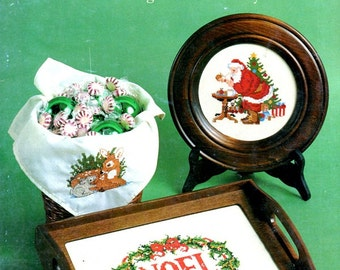 Christmas Stitchin Noel Santa Claus Deer Creche Angel Wreath Heart Stocking Cardinal Counted Cross Stitch Embroidery Patterns Craft Leaflet