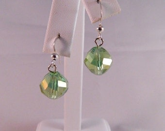 Swarovski Aurora Borealis Faceted Peridot Crystal Dangle Earrings on Sterling Silver French Ear Wires, DE14