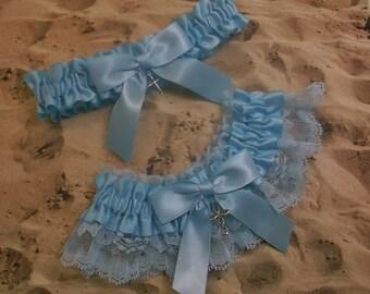 Light Blue Satin Light Blue Lace Cross Wedding Garter Set Toss