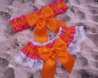 Hot Pink Fuchsia Satin Orange Satin Bow White Lace  Wedding Bridal Garter Toss Set