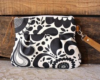 Scroll floral canvas clutch wristlet pouch wallet purse with caramel trim Ivory/Ink colors -MADE TO ORDER-