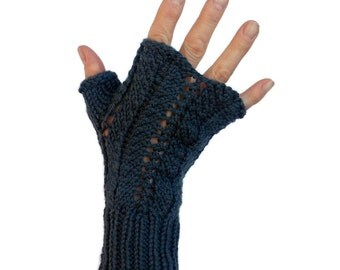 Green Cashmere Gloves Fingerless Mittens Angela Lace Hand Knit Cashmere Merino Wool Gift Bag