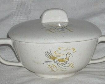 Taylor Smith TST Mid Century Modern Prairie Chicken Sugar Bowl and Lid