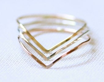 Set of Three SOLID 14k Rose Yellow or White Gold - Set of Modern Chevron Threads of Gold - Tiny Hammered Stacking Rings - Delicate Jewelry