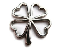 Shamrock Charm, Four leaf Clover, 5 pcs, 30mm, Irish Charms, St Patricks Day, Shamrock, St Paddys Day - C192