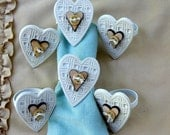 Country Napkin Rings Hearts and Buttons