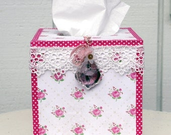 Tissue Box Kleenix Box Cover Handmade Cottage Chic