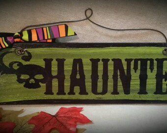 Scary skull hand painted wooden sign Haunted