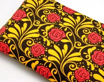 Large Zipper Pouch, Pencil Pouch, Gadget Bag, Cosmetic Bag, Red Roses (ZL-14)