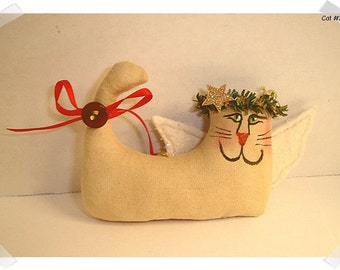 Angel Cat Ornament/ Glittered Wings/ Muslin Fabric/ Hand painted**