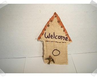 Birdhouse Magnet/Tea Dyed Muslin Fabric /Handmade**