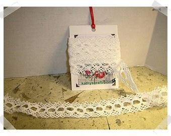 Lace Trim/Soft White Cotton/1 & 1/2 yards/Craft Supplies (#005)*