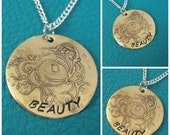 Chemically Etched Flower Necklace, Hand stamped with Beauty