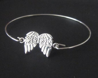 Wings Bangle Bracelet, Sterling Silver, Jewelry, Friendship Bracelet, Gift