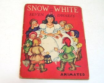 Snow White And The Seven Dwarfs Vintage Animated Childrens Book