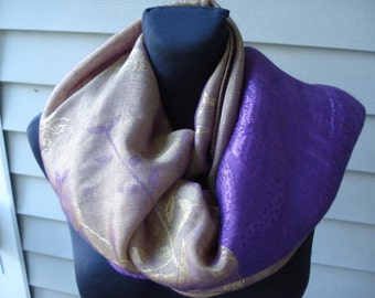 Vintage Purple and Gold Long Scarf Shawl