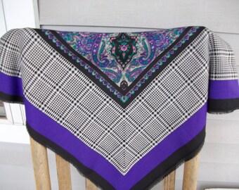 SALE Vintage Large Italian Scarf Shawl Black Purple Turquoise Houndstooth