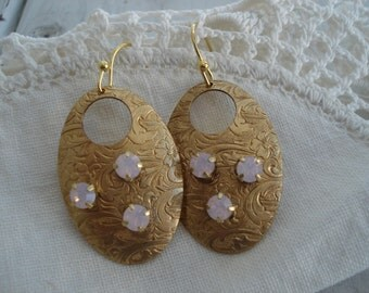 Vintage Rosewater Opal Rhinestone Textured Gold Earrings Pink Floral Victorian