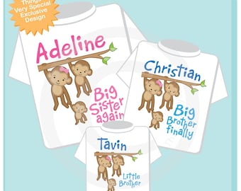Sibling Monkey Shirt Set, Set of Three, Big Sister Again Shirt, Big Brother FInally Little Brother, Personalized Shirt or Onesie (03272014c)