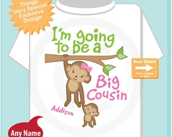 I'm Going to Be A Big Cousin Shirt, Big Cousin Onesie, Personalized Big Cousin Shirt, Monkey Shirt with Unknown Sex Baby (08142014e)