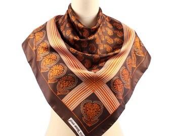BOHEMIAN Scarf . Boho Brown Floral Print Shawl Wrap Neck Scarf  Vintage Retro Burnt Orange Hipster Womens Gift Fashion Scarves