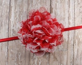 Red Valentine Headband, Lace Chiffon Flower on Red Skinny Elastic, Baby Headband, Infant, Toddler Headband, Newborn Headband, Photo Prop