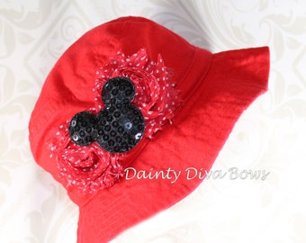 INFANT Girls Red Mickey Mouse Embellished Sunhat