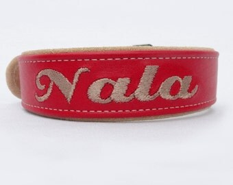 One and a half Inch Adjustable Personalized Leather dog collars.  Sizes from 16-24 inches