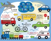 Planes,Trains and Automobiles Placemat in Spanish OR French